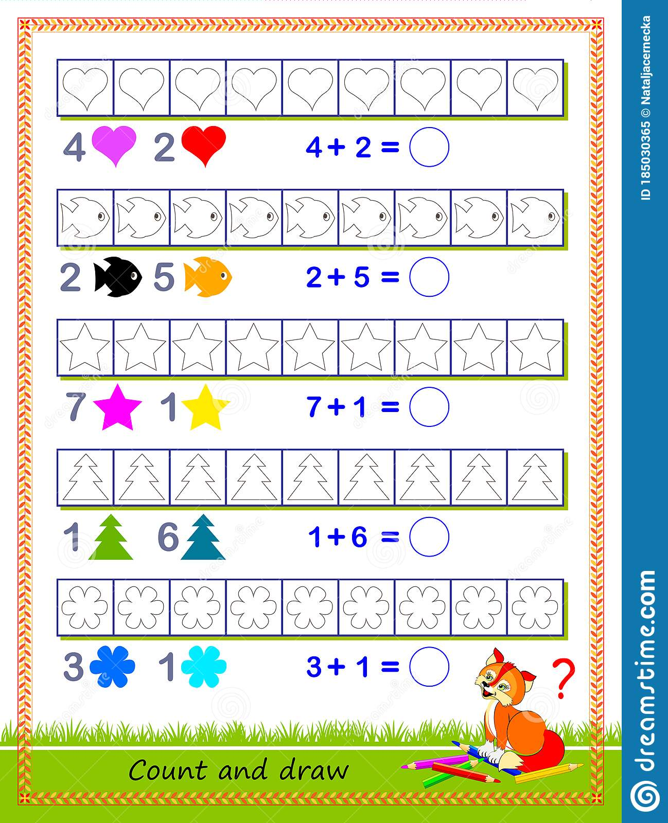 Math Education For Children Solve Examples And Paint The