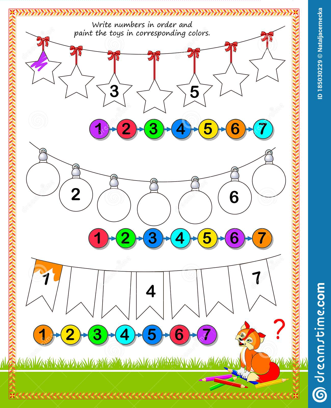 Math Education For Children Write Numbers In Order And