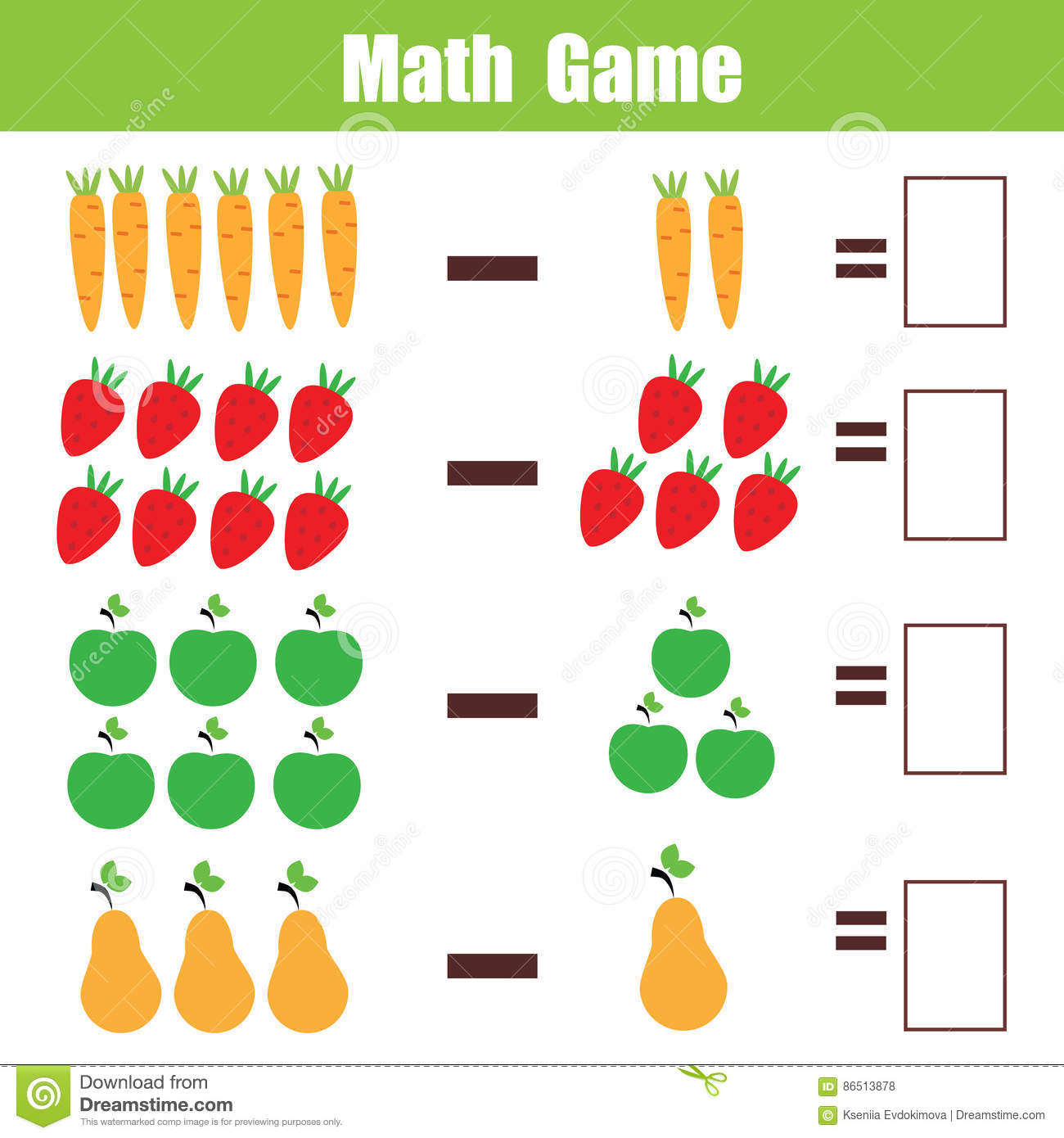 Math Educational Game For Children Subtraction