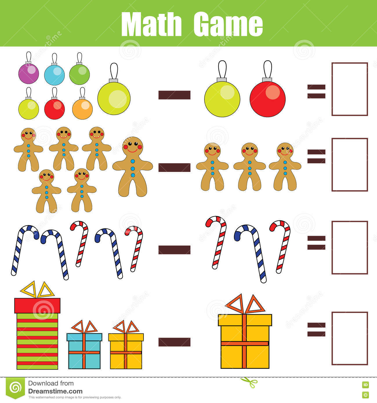 Math Educational Game For Children Subtraction Worksheet