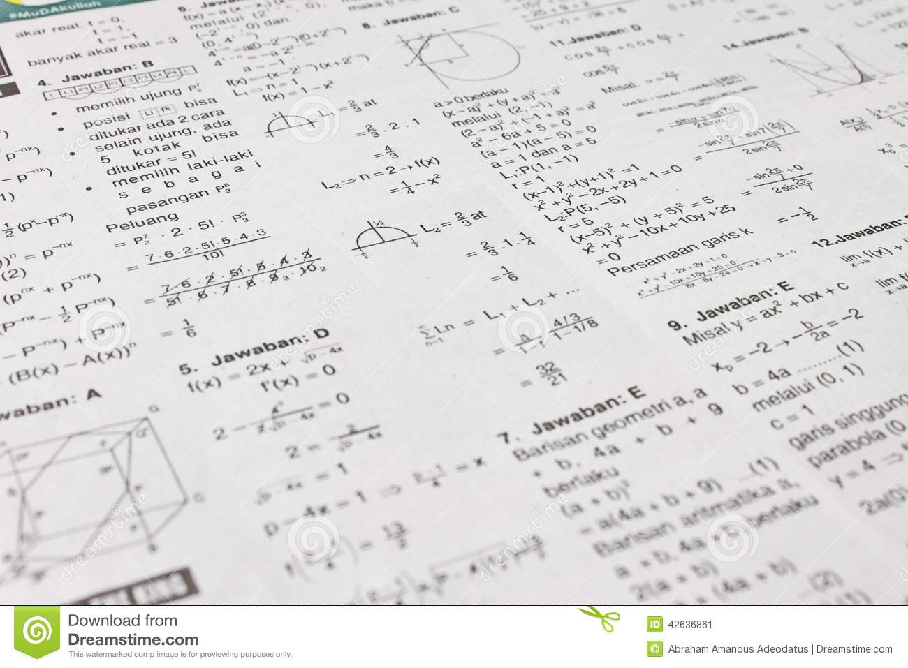 Math equations stock image. Image of print, line, math