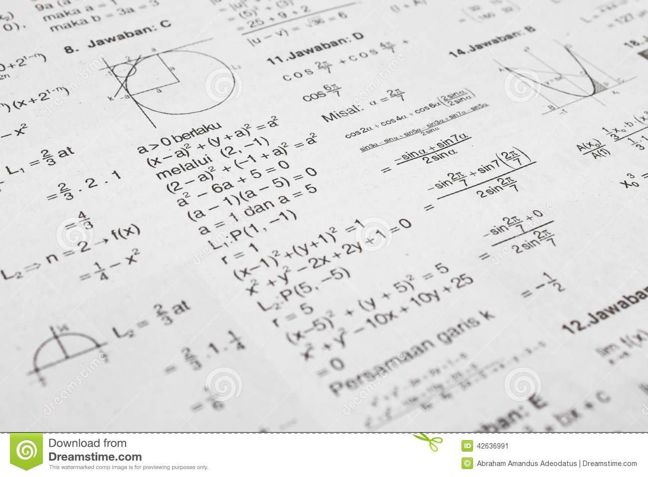 Math equations stock image. Image of curve, paper, formula