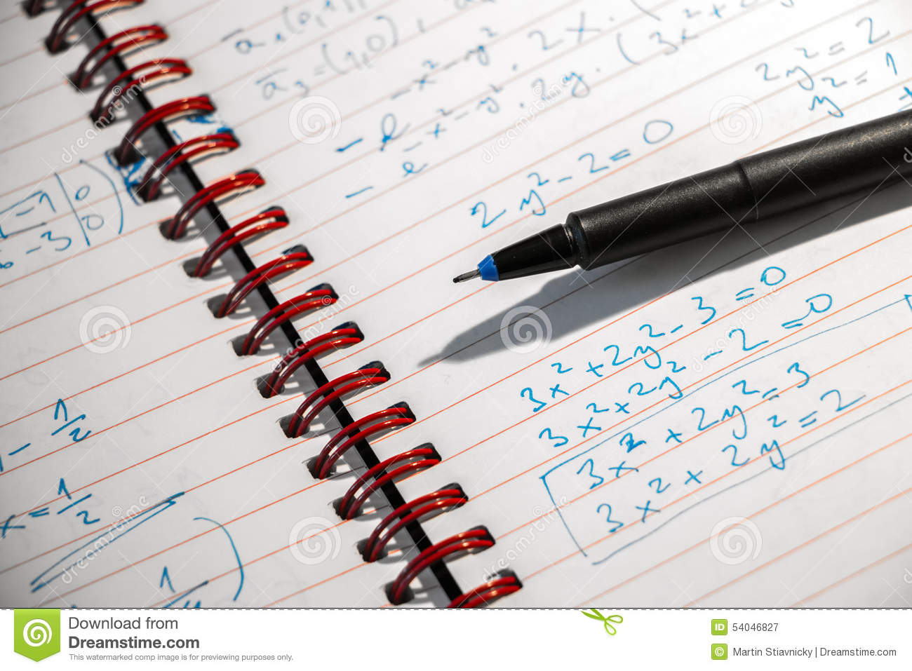 Math Exercise At Night Stock Photo