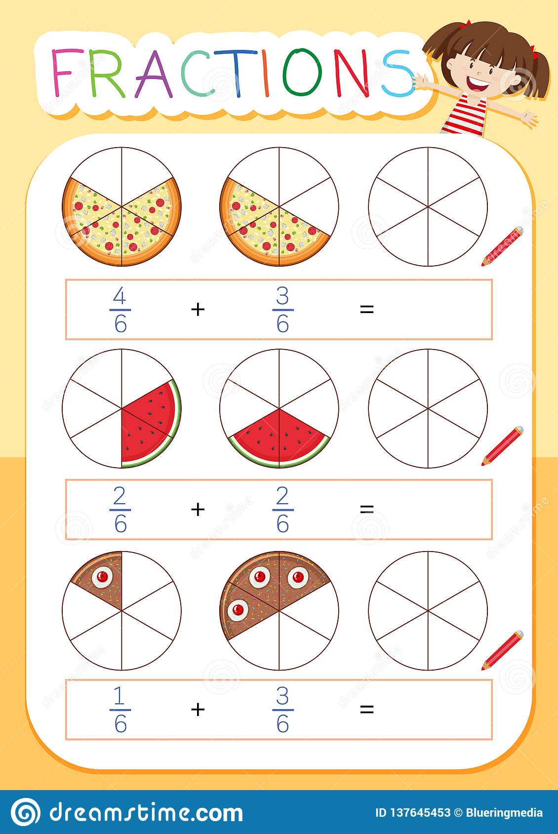 A Math Fraction Worksheet Stock Vector Illustration Of
