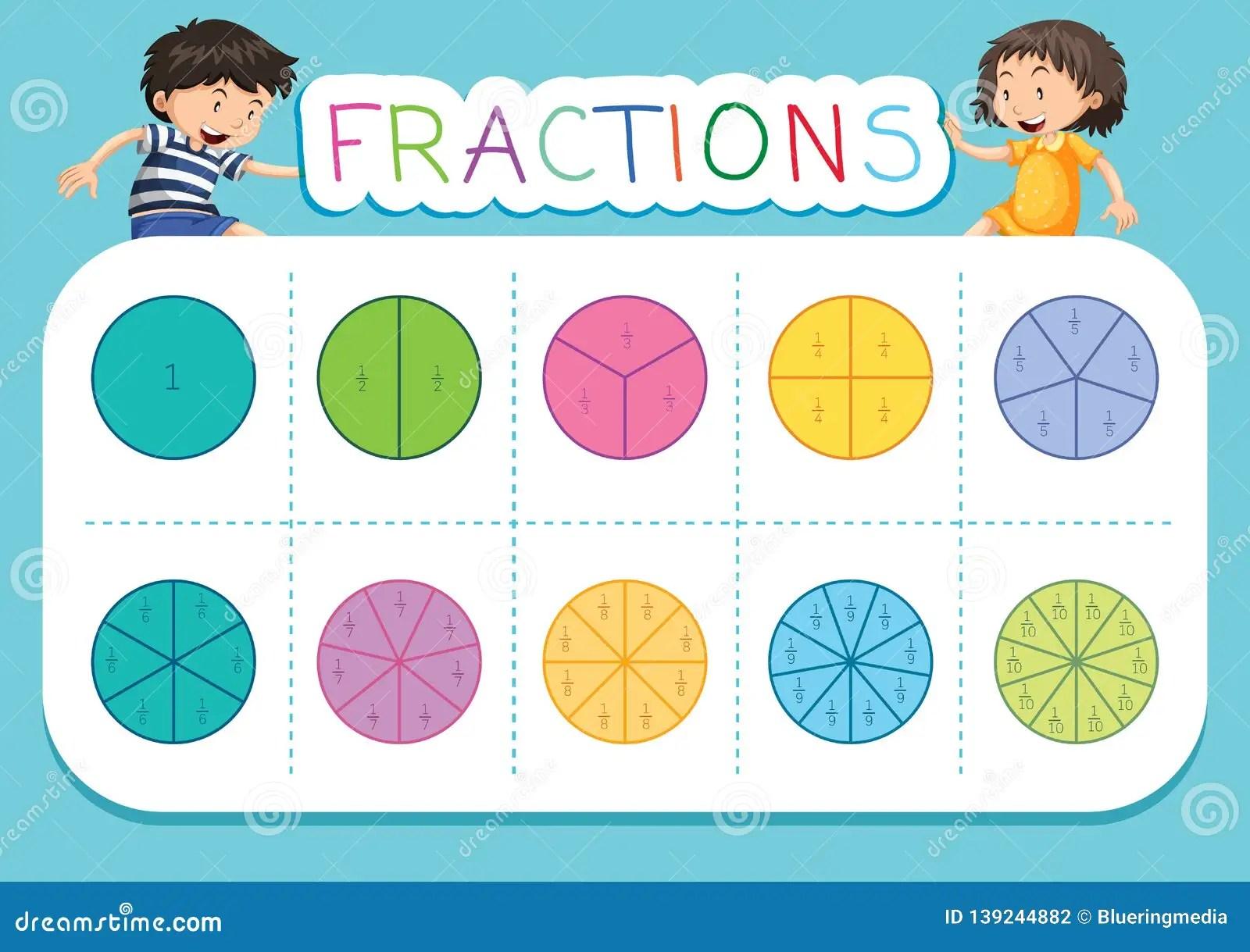 A Math Fractions Worksheet Stock Vector Illustration Of