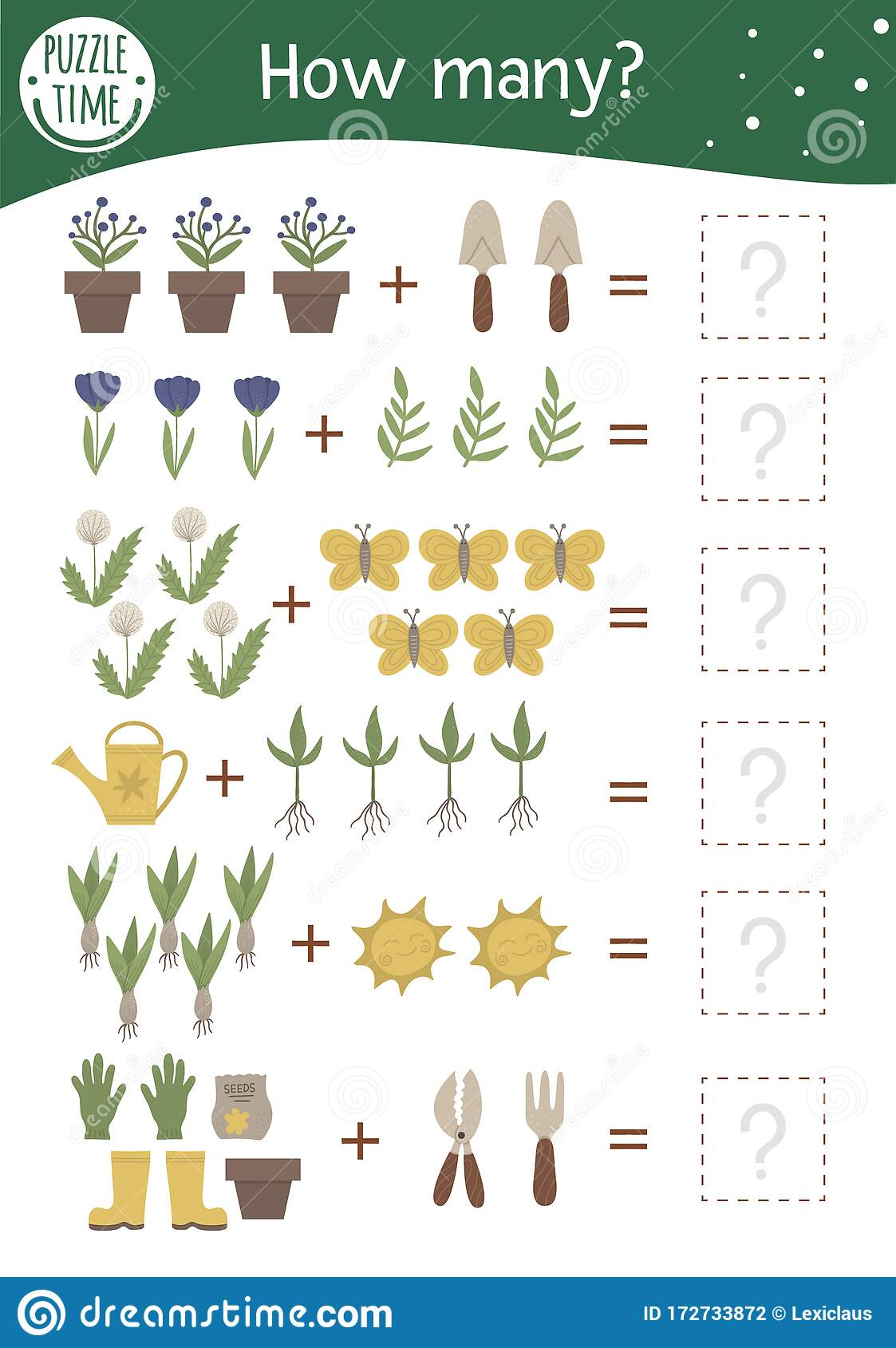 Math Game With Garden Symbols Spring Mathematic Activity