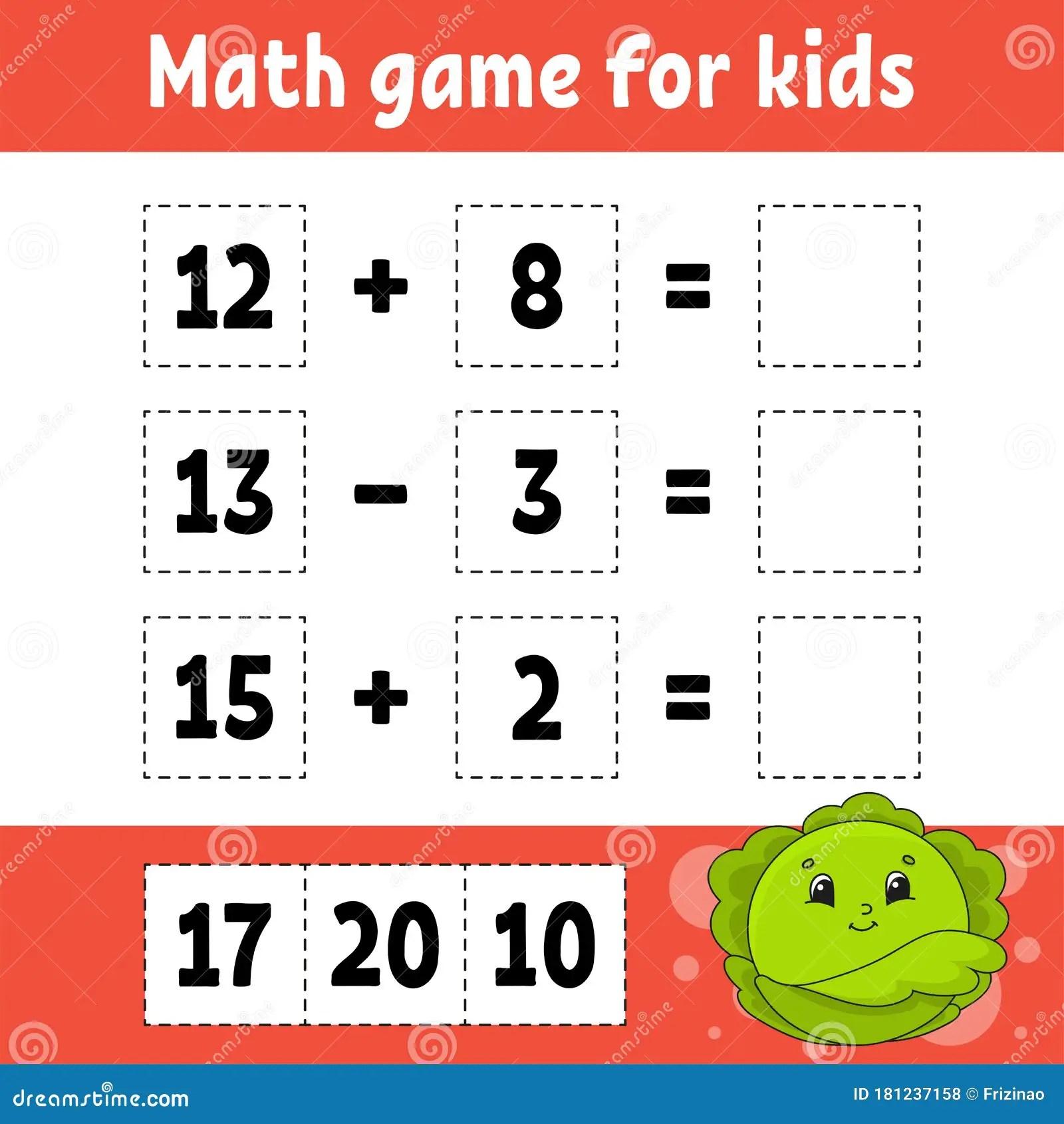Math Game For Kids Education Developing Worksheet