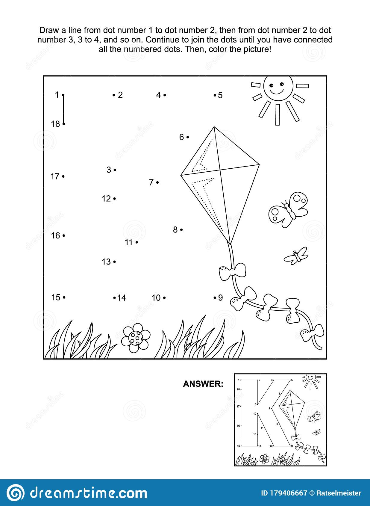 Connect The Dots And Coloring Page With Letter K And Kite