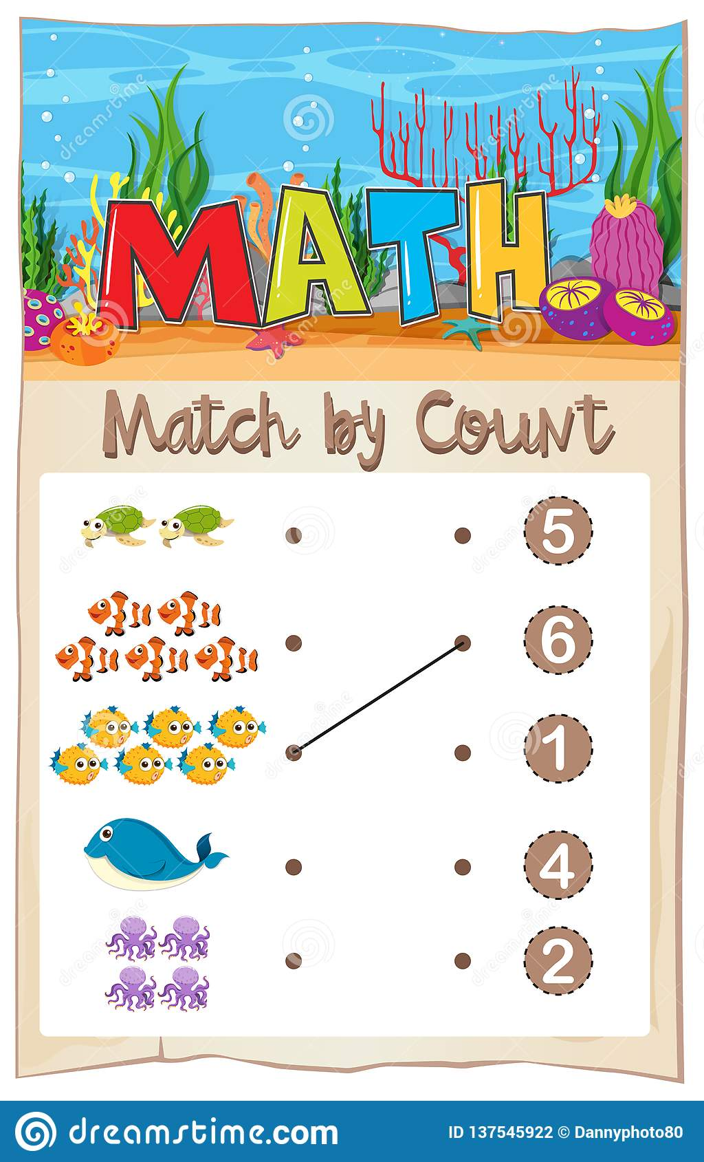 Math Matching Number Worksheet Stock Vector