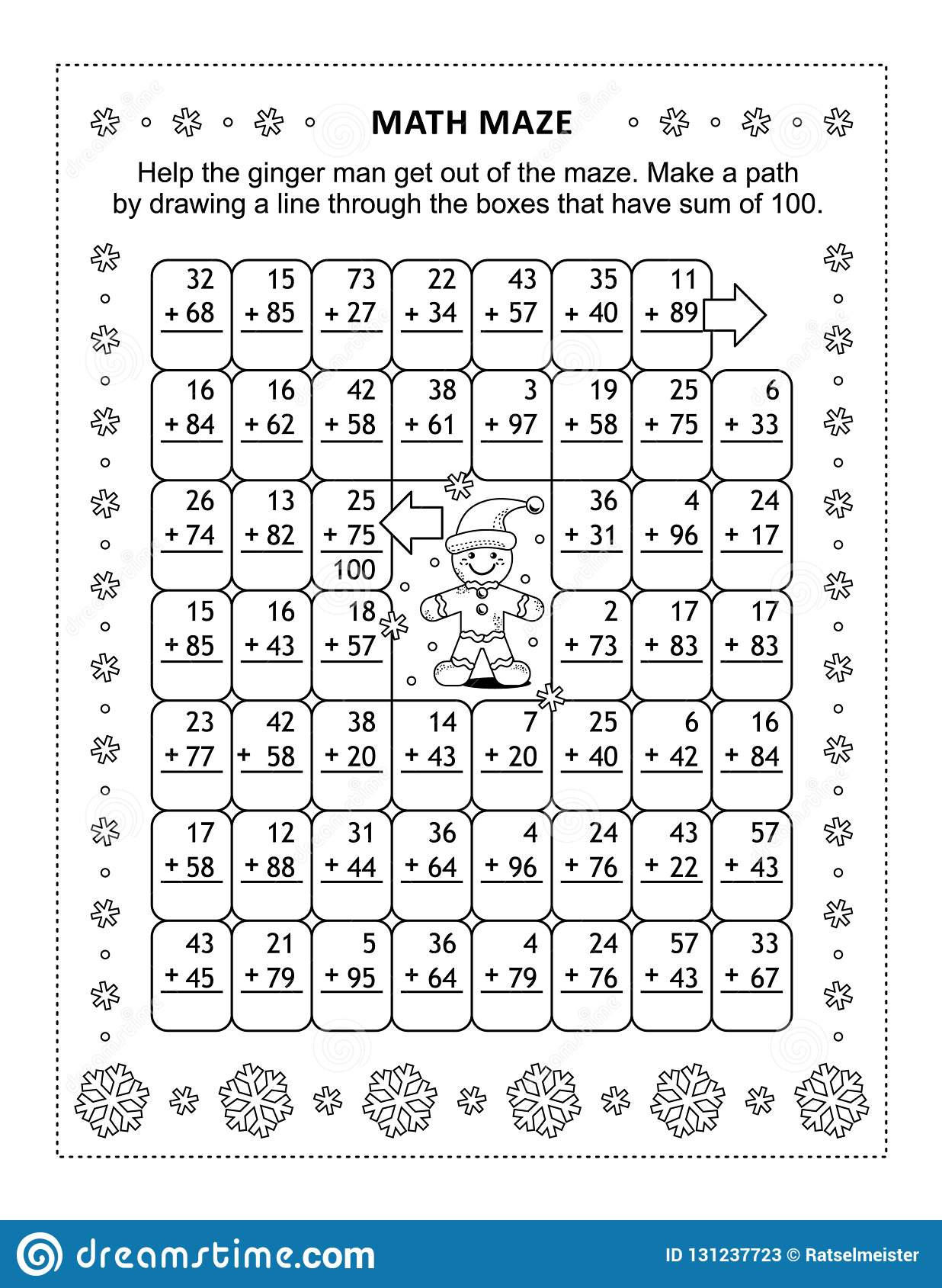 Math Maze With Addition Facts For Numbers Up To 100 Stock