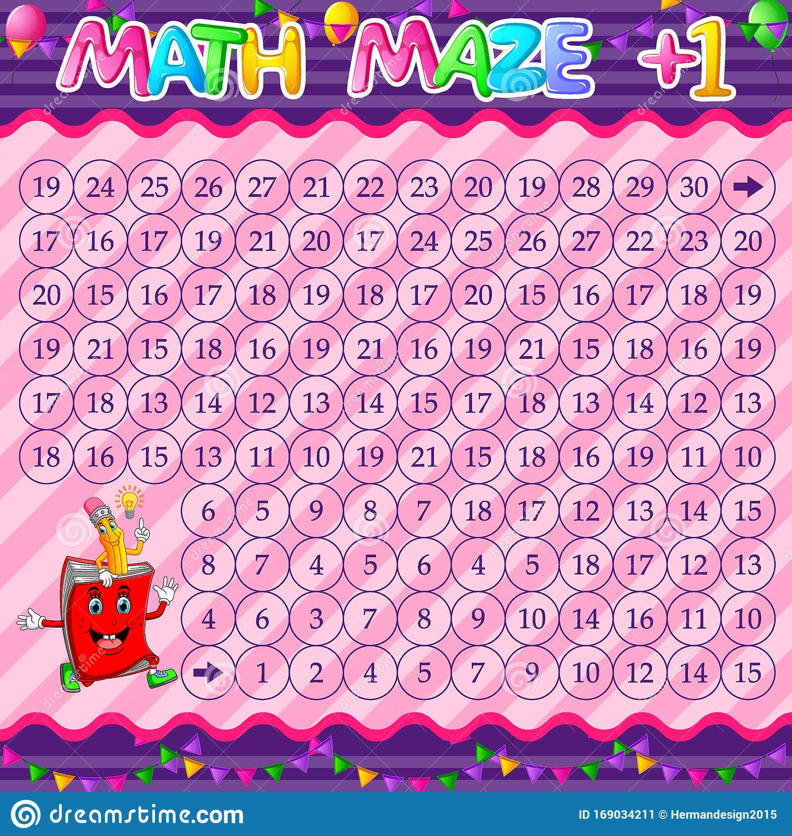 Math Maze Addition Worksheet With Book And Pencil