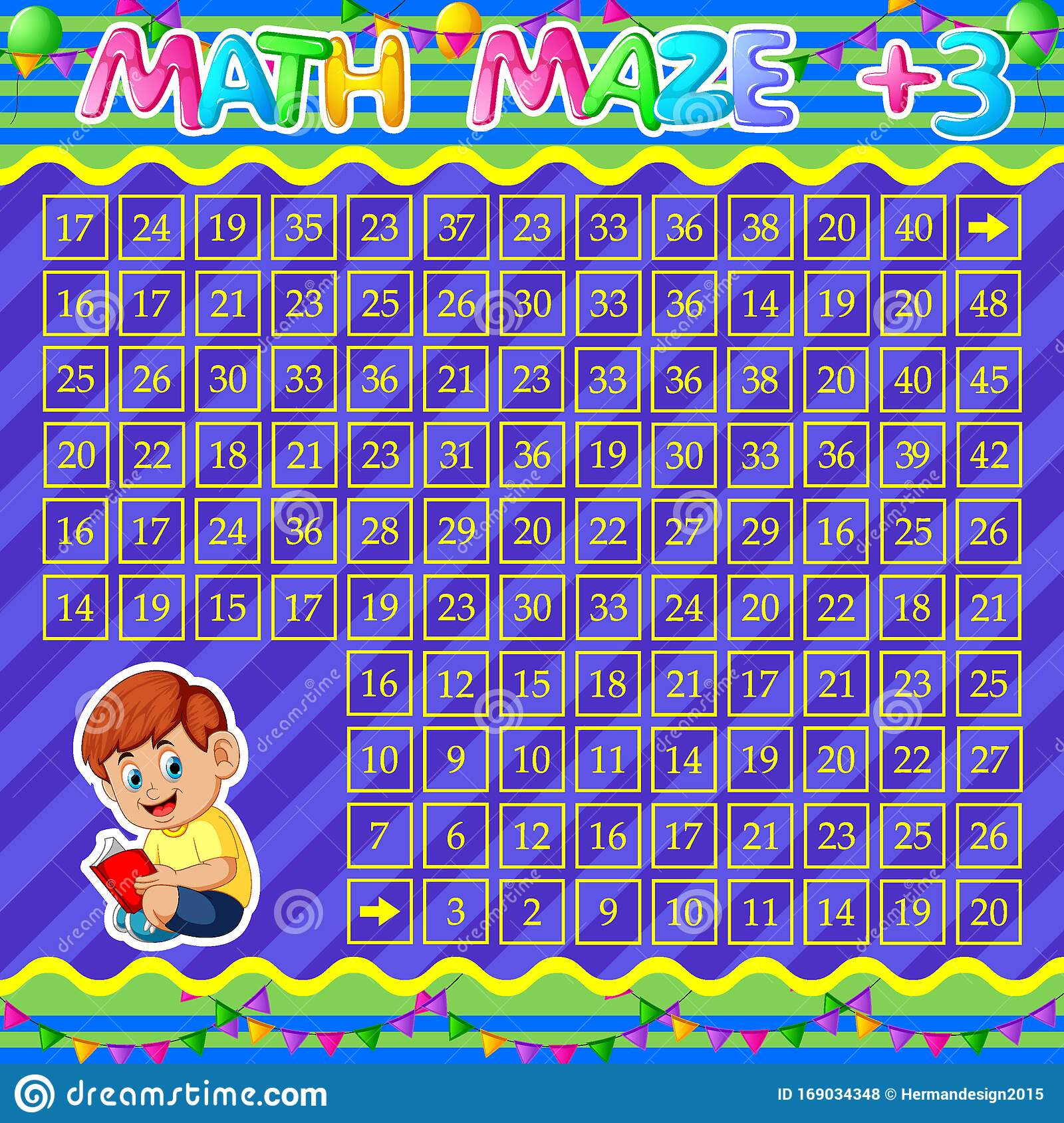 Math Maze Addition Worksheet With Cute Boy Reading Book