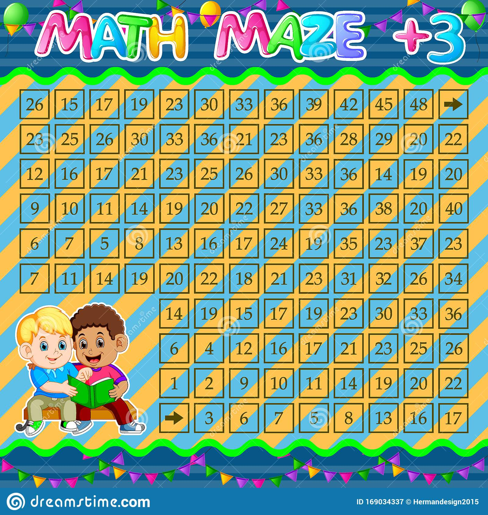 Math Maze Addition Worksheet With Two Boy Reading Book
