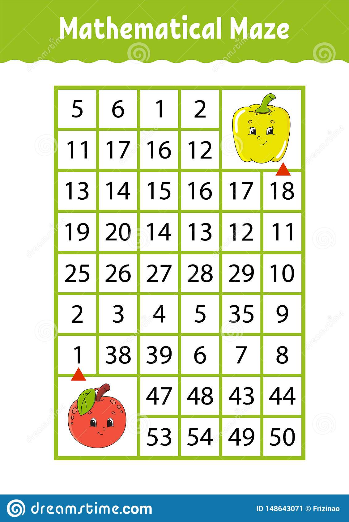 Math Maze Game For Kids Funny Labyrinth Education
