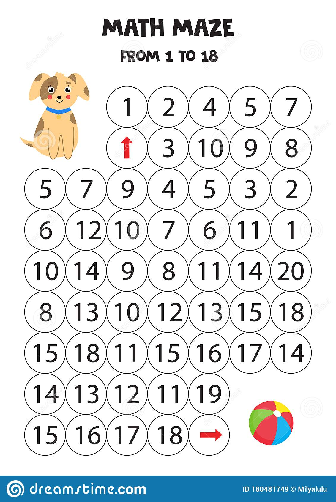 Math Maze From One To 18 Help The Dog To Get To The Ball