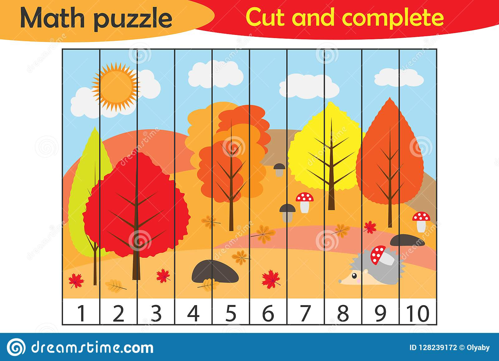 Math Puzzle Autumn Forest In Cartoon Style Education