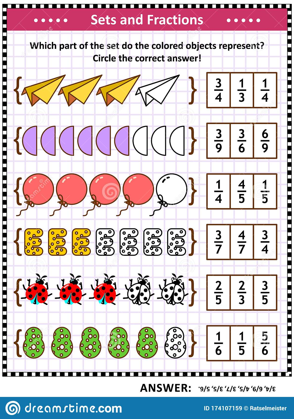Math Skills Training Puzzle Or Worksheet With Pictorial