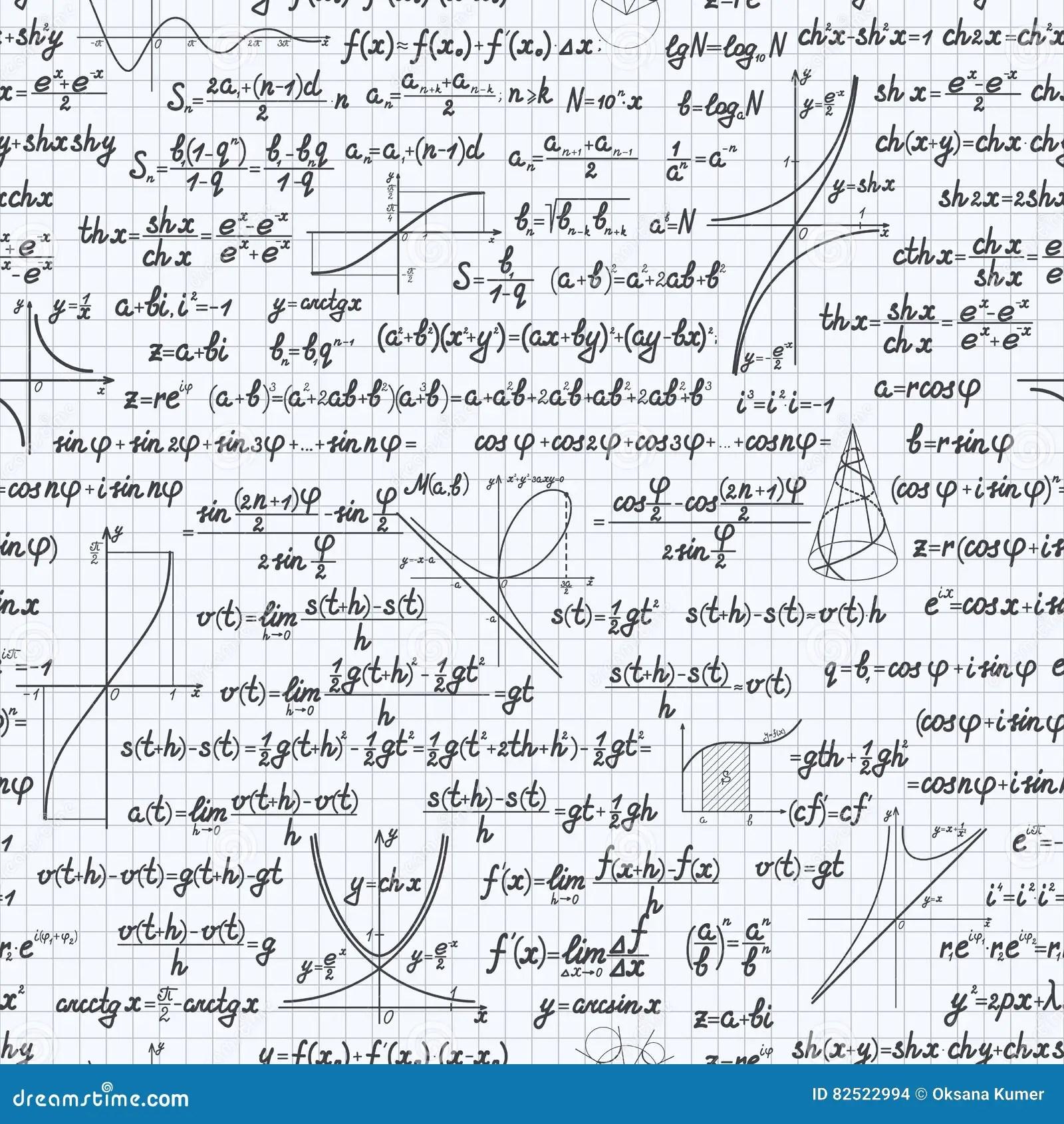 Math Vector Seamless Pattern Background Notebook Cartoon