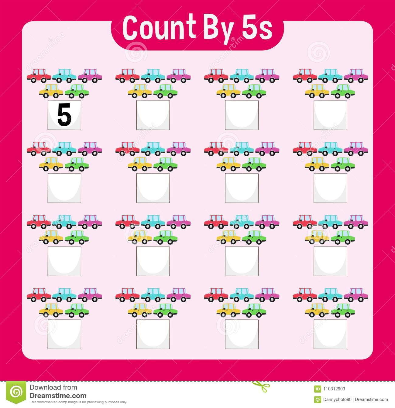 Math Worksheet Four Counting By Five With Cars Stock