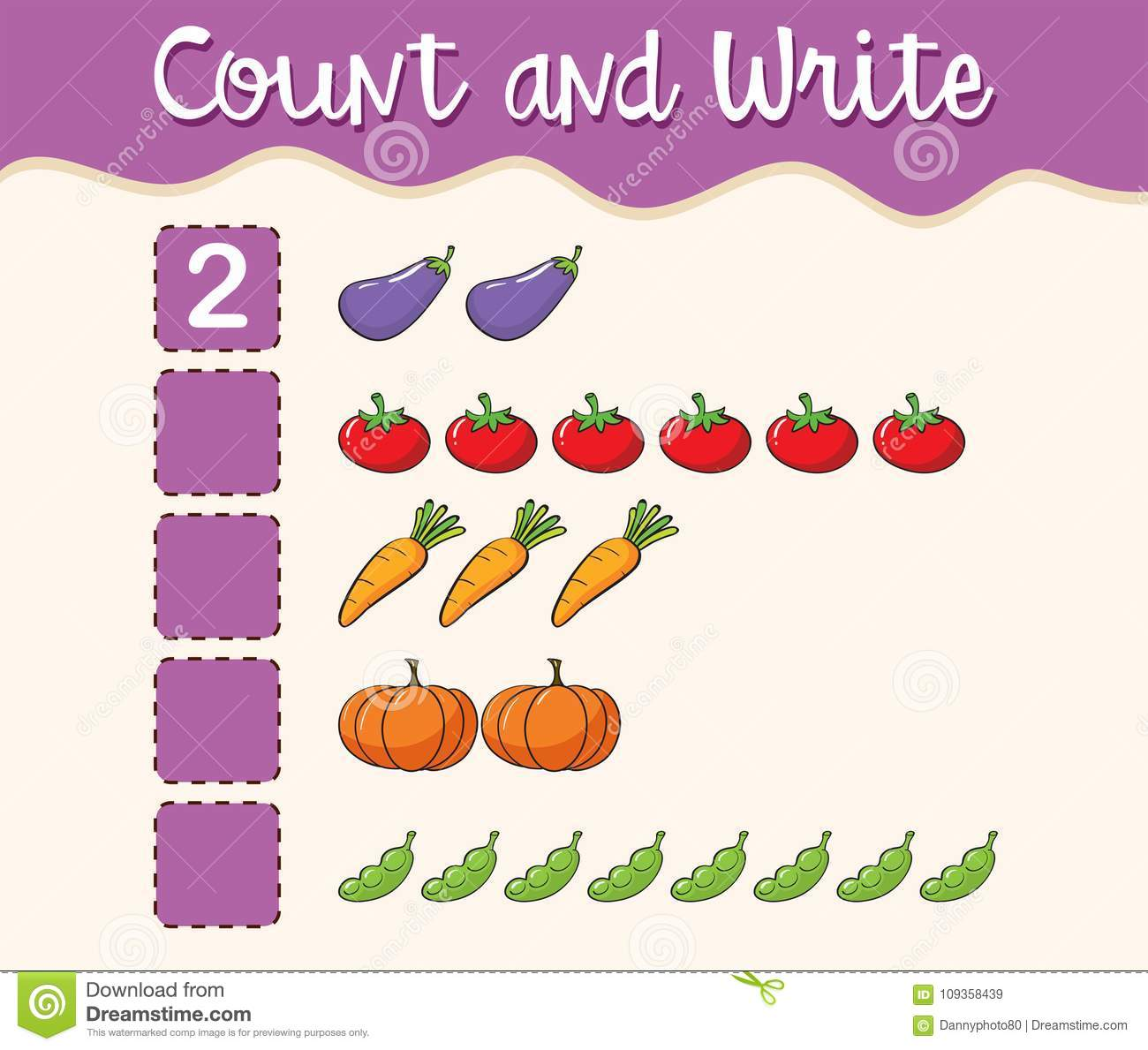 Math Worksheet Template Count And Write Stock Vector