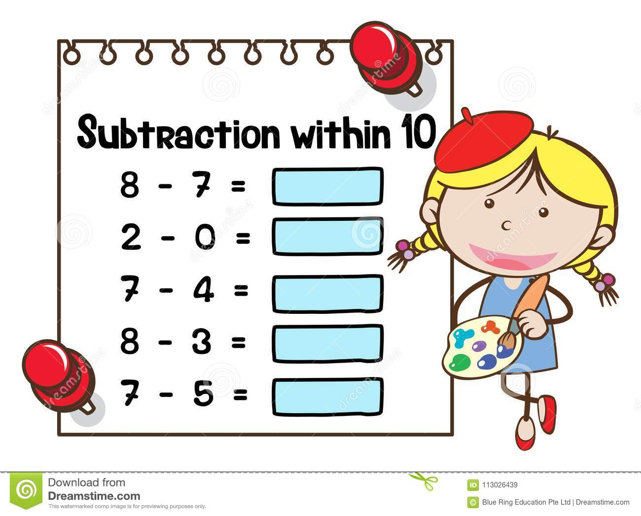 Math Worksheet Template For Subtraction Within Ten Stock