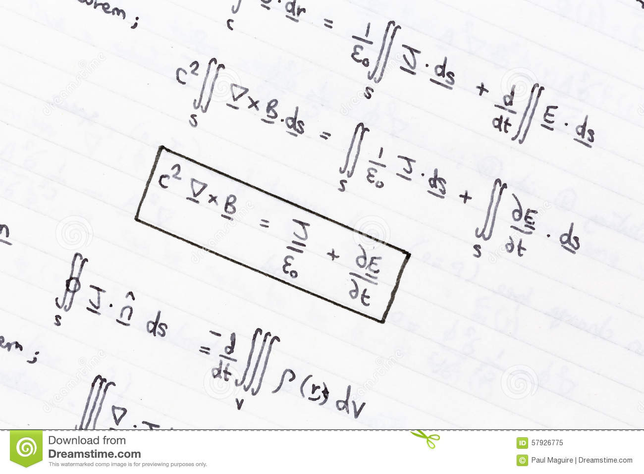 Mathematical equations stock image. Image of hand, close