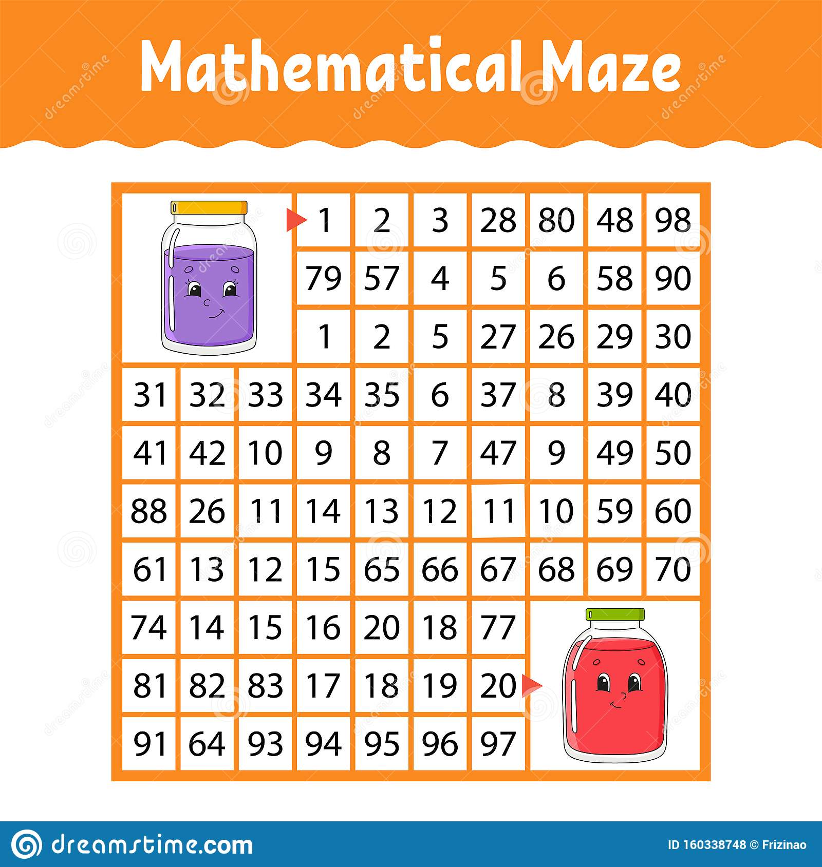 Mathematical Maze Game For Kids Number Labyrinth