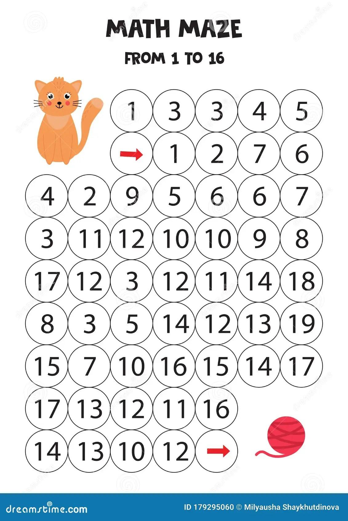 Mathematical Maze For Kids Cute Cartoon Cat And Ball Of