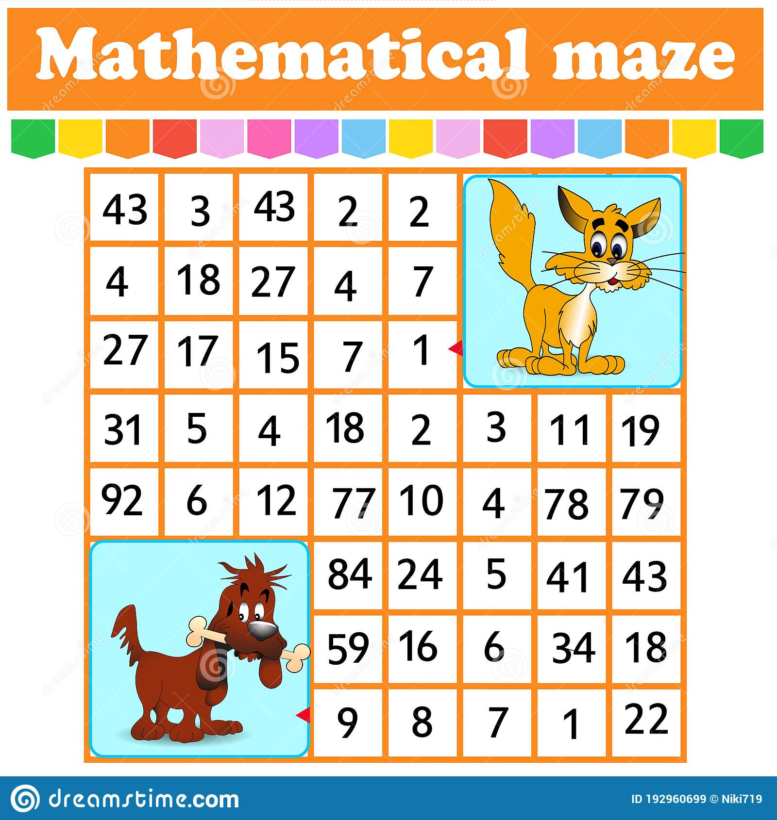 Mathematical Rectangle Mazet And Dog Game For Kids