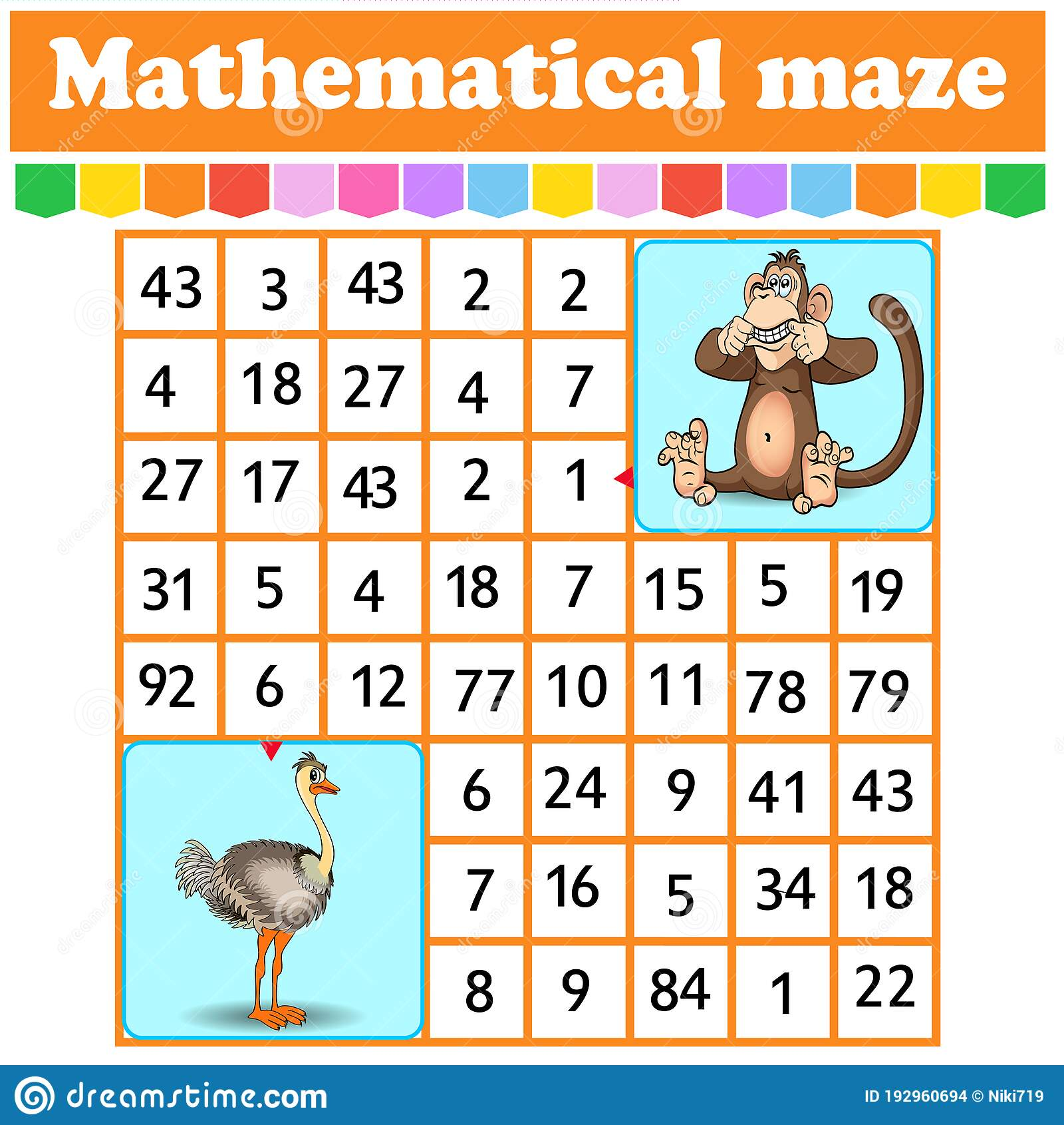 Mathematical Rectangle Maze Nkey And Ostrich Game For