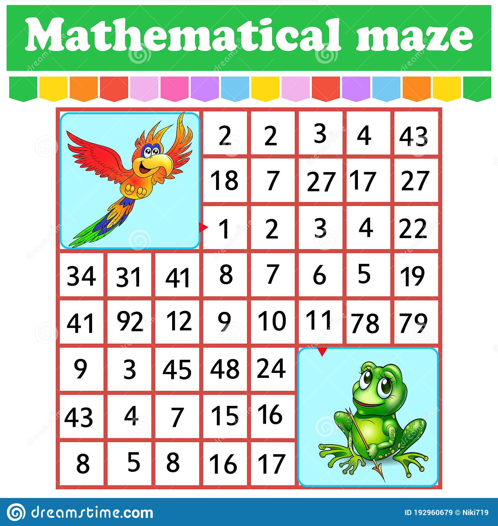 Mathematical Rectangle Maze Parrot And Frog Game For