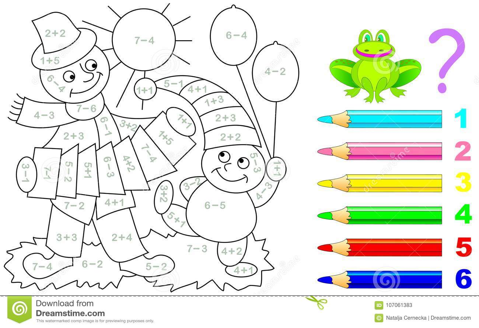 Mathematical Worksheet For Children On Addition Stock