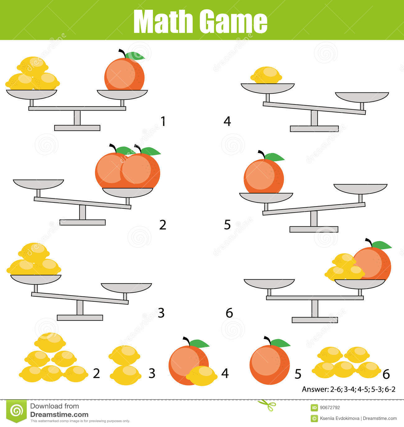 Mathematics Educational Game For Children Balance The