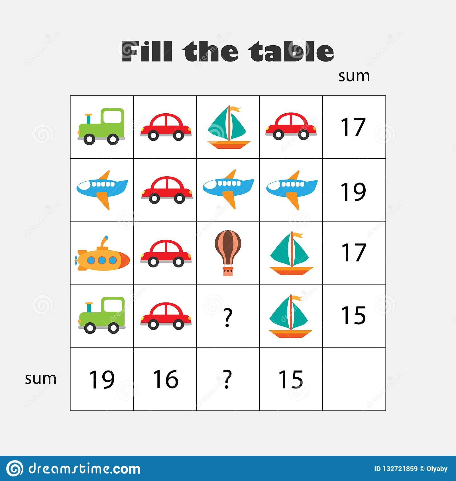 Mathematics Game With Pictures Transport Theme For