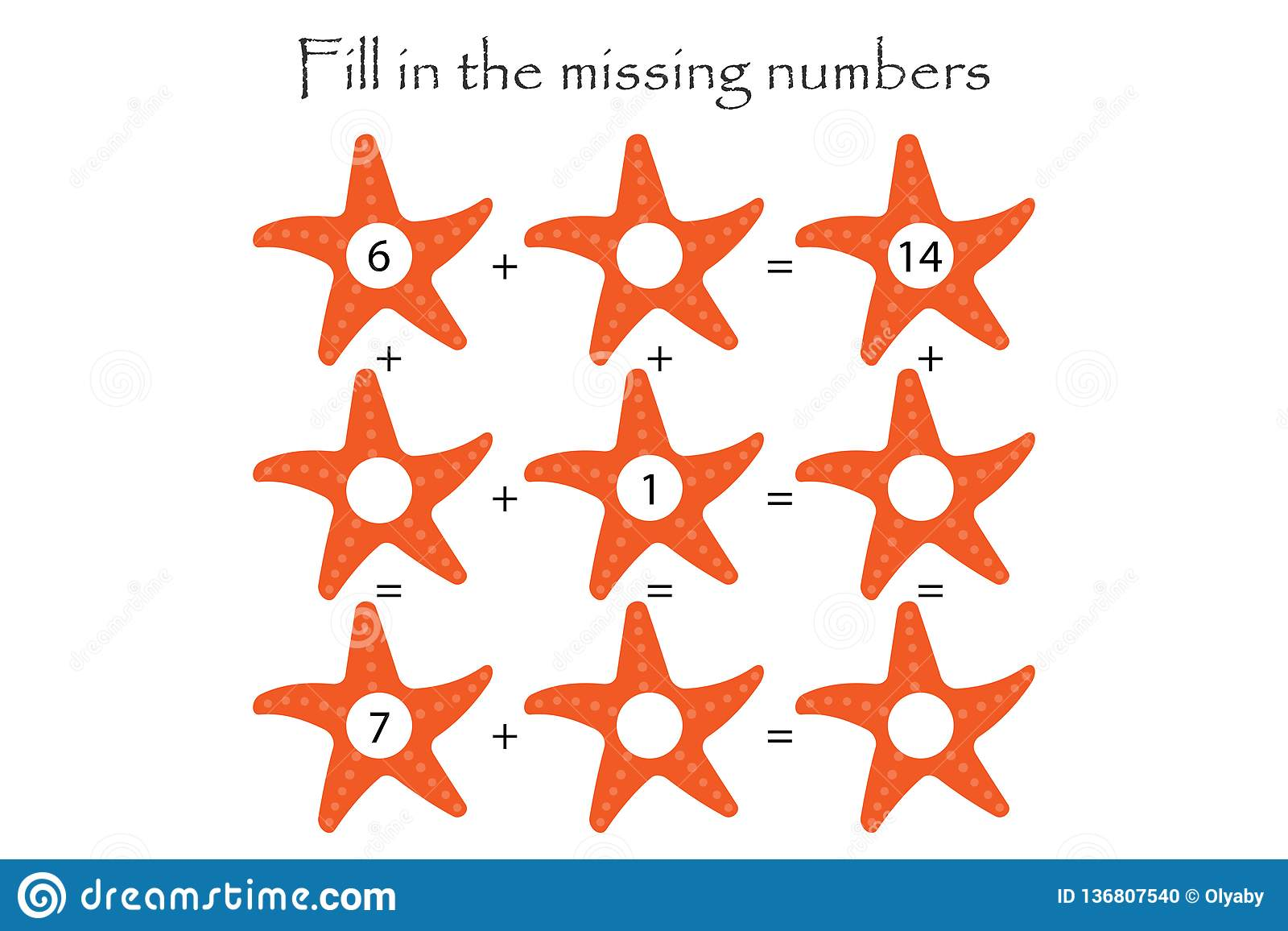 Mathematics Game With Starfish For Children Fill In The