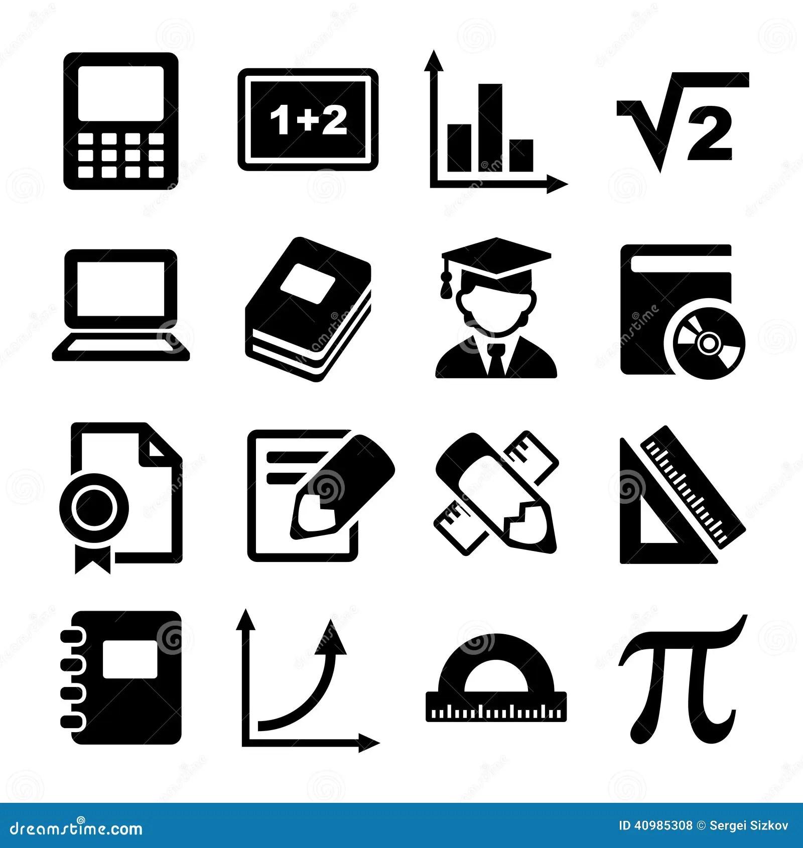 Mathematics Icons Set stock vector. Illustration of