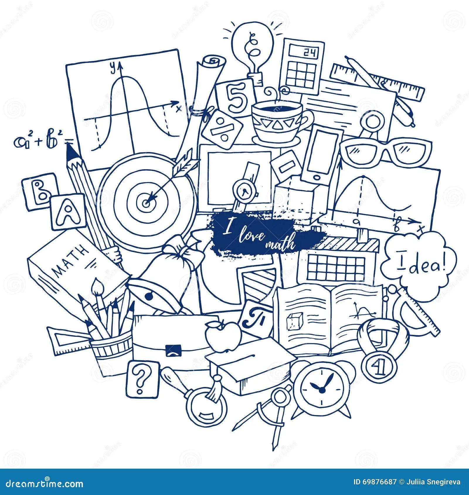 Mathematics Science Theme Hand Drawn Pattern About School