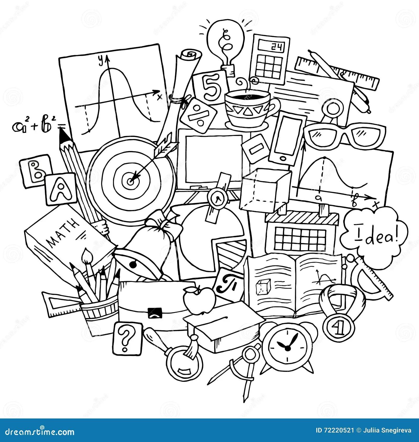 Mathematics Science Theme. Hand Drawn Pattern About School