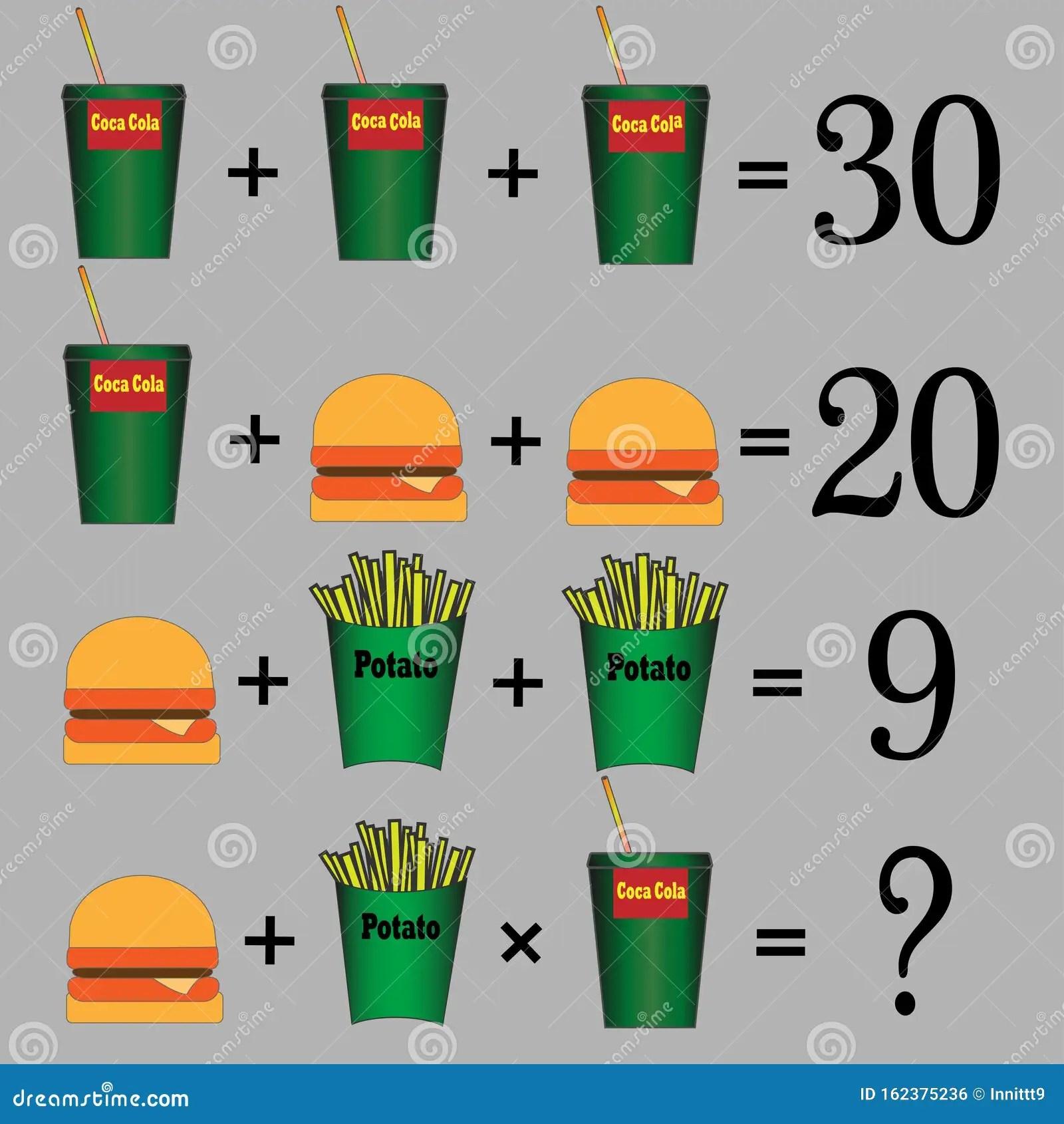 Math Task For Preschool Children Vector Illustration