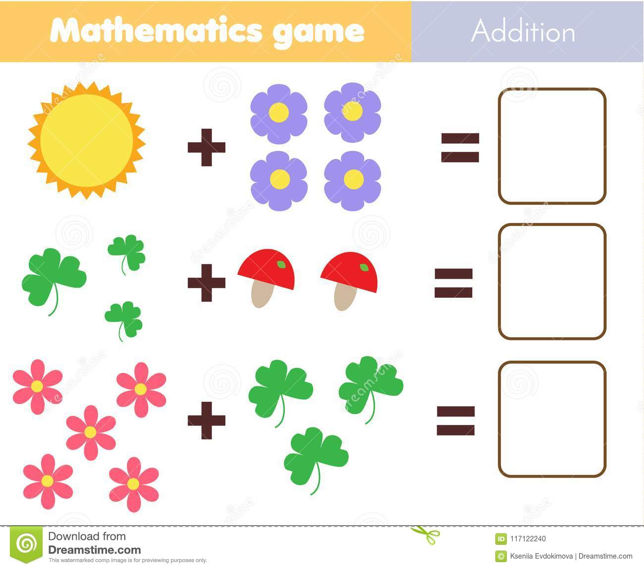 Mathematics Worksheet Educational Game For Children