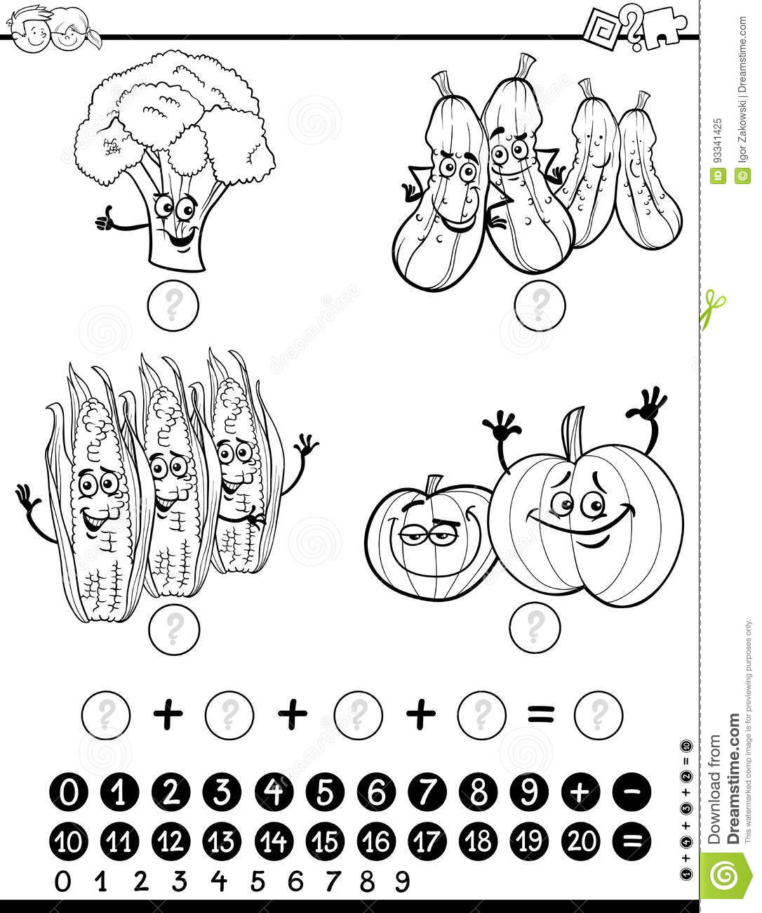 Maths Activity Worksheet For Coloring Stock Vector
