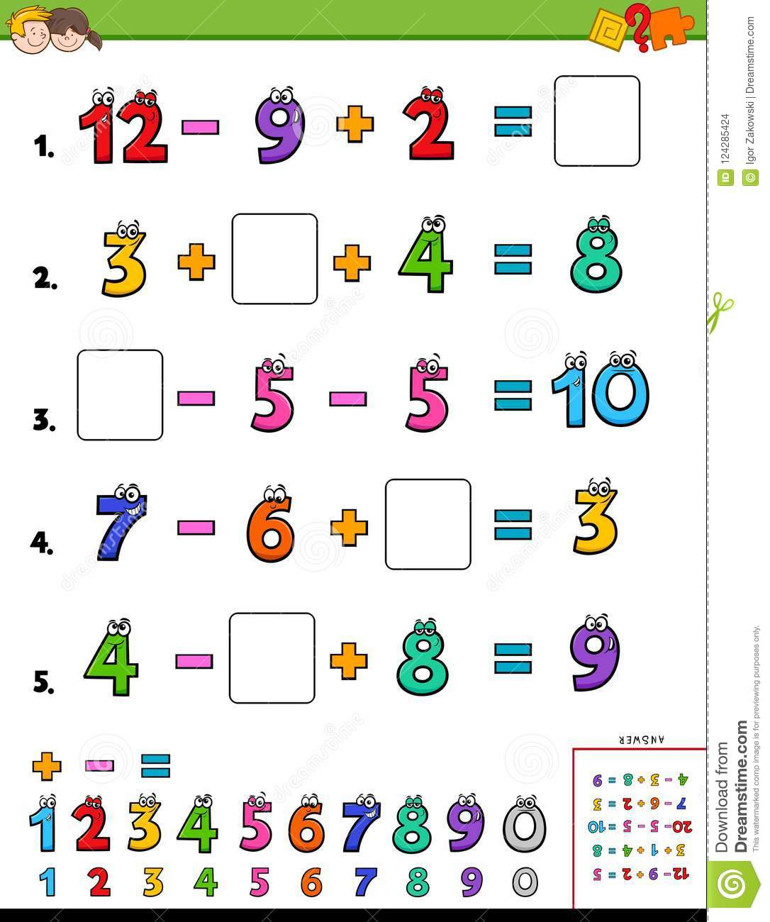 Maths Calculation Educational Game For Kids Stock Vector