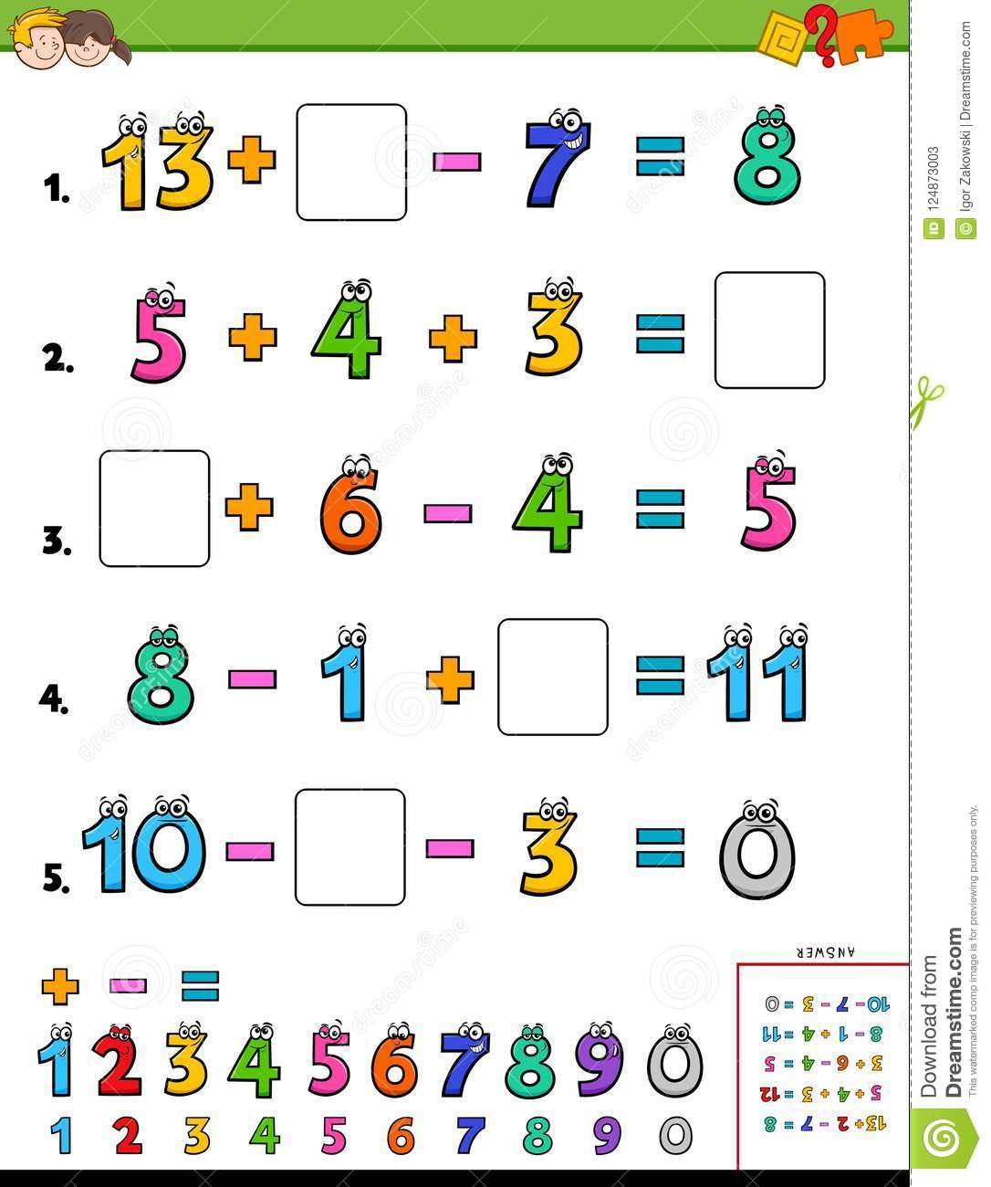 Maths Calculation Educational Puzzle For Kids Stock Vector