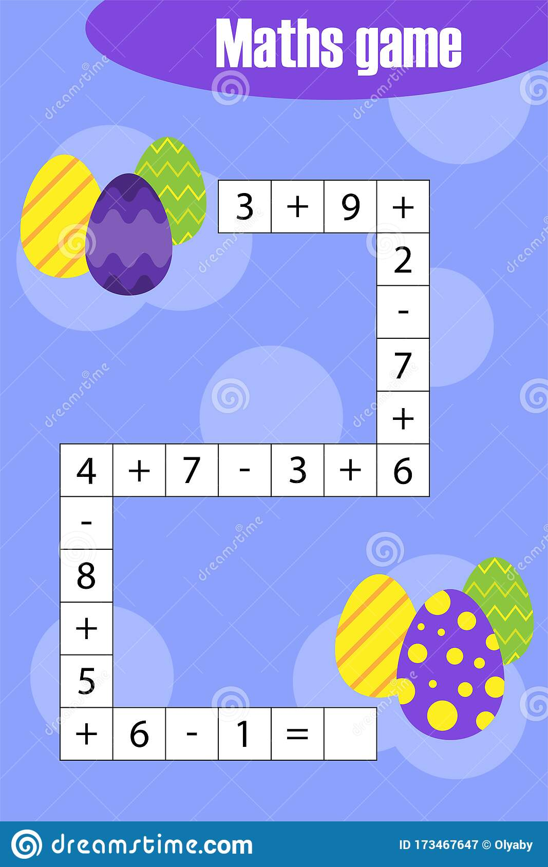 Maths Chain Game With Easter Eggs For Children Education