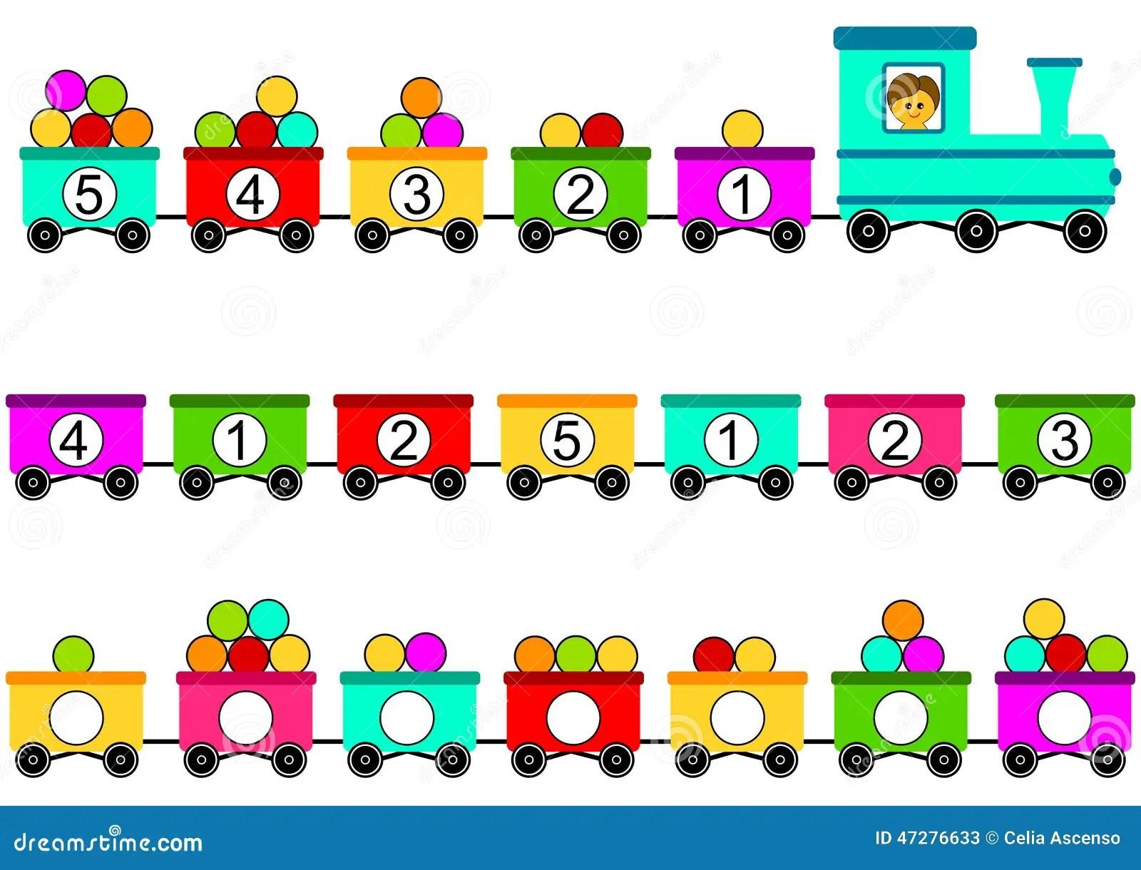 Maths De Jouet De Train Comptant Le Jeu Illustration Stock