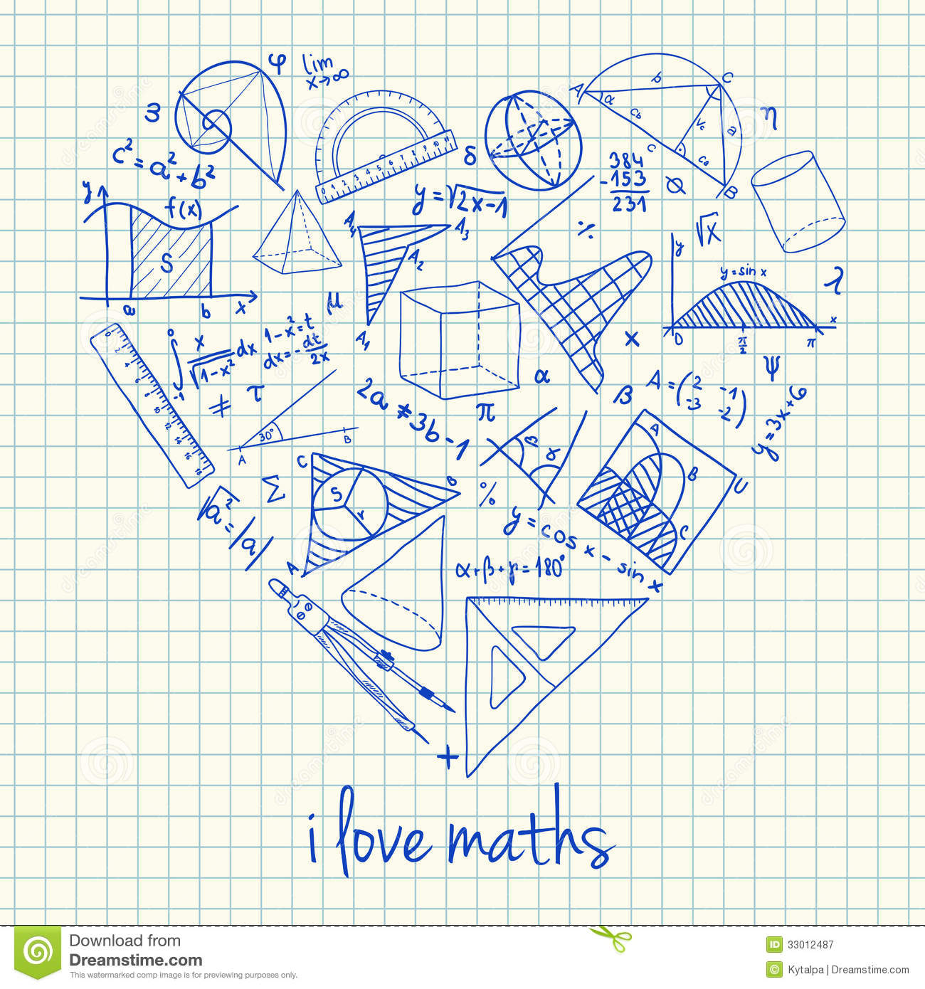 Maths Drawings In Heart Shape Stock Illustration