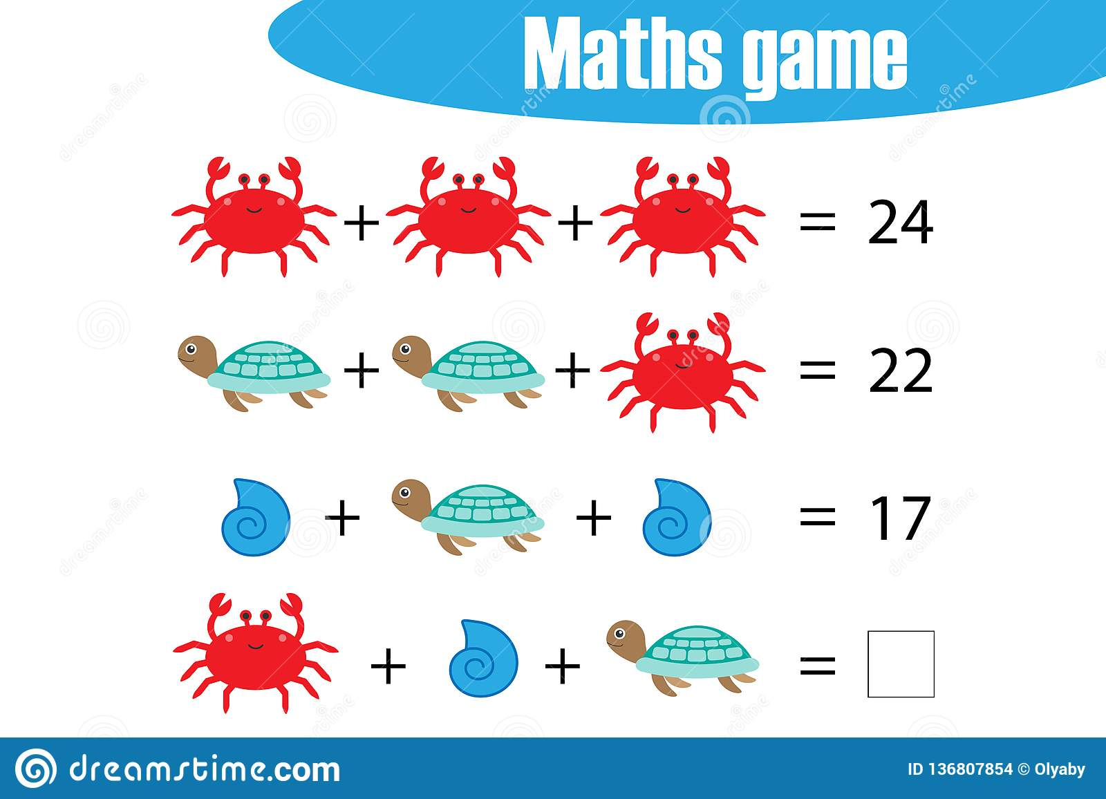 Maths Game With Pictures Ocean Animals For Children