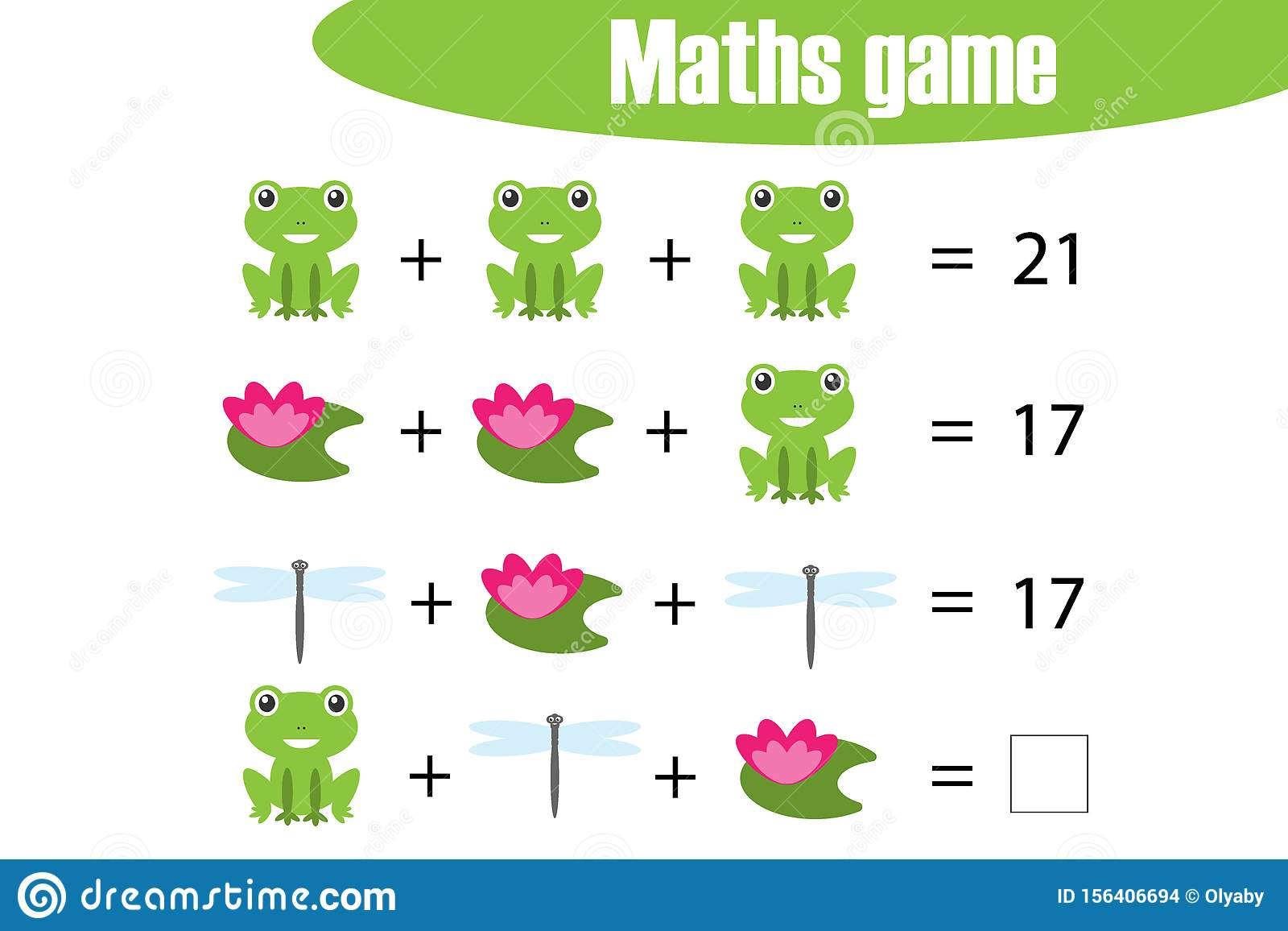 Maths Game With Pictures Of Pond Life For Children Middle