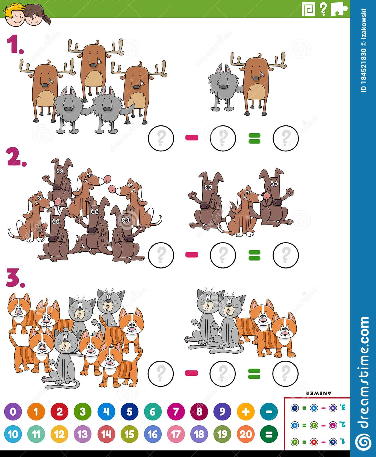Maths Subtraction Educational Task With Comic Animals
