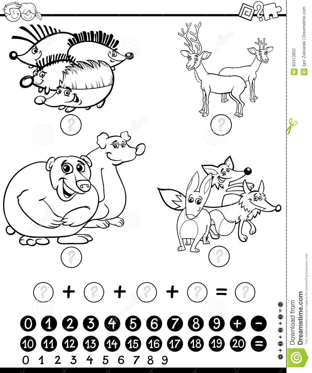 Maths Worksheet For Coloring Stock Vector